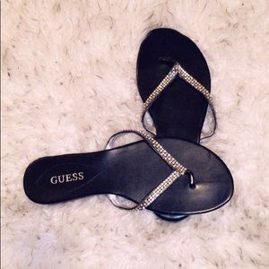 GUESS Black Flip Flops with Silver Studded Straps